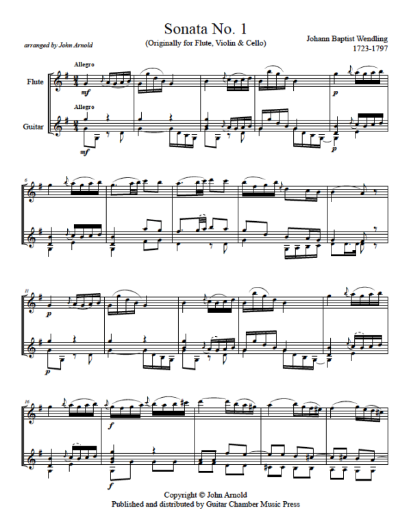 Score of Sonata No. 1