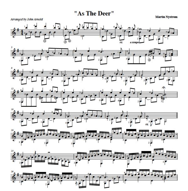 Score of As The Deer