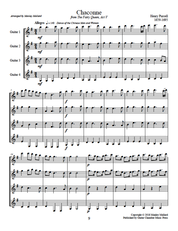Score of Chaconne from The Fairy Queen