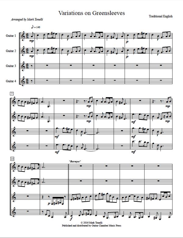 Score of Variations on Greensleeves