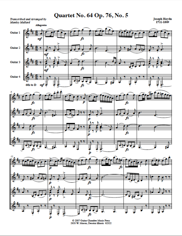Score of Quartet No. 64 Op. 76 No. 5