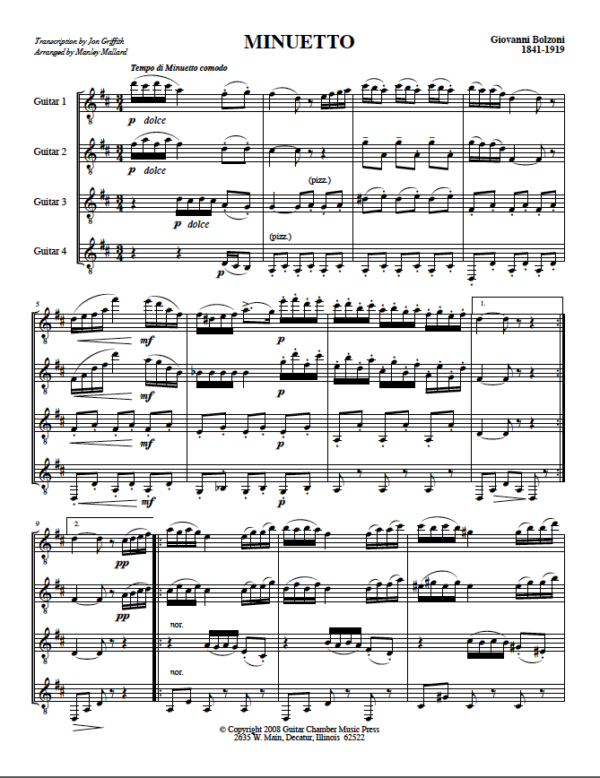 Score of Minuetto