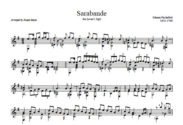 Score of Sarabande