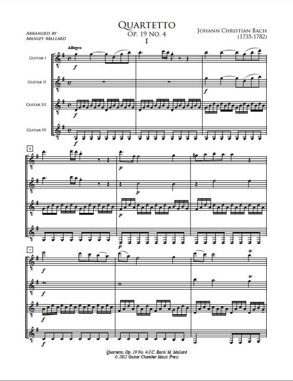 Score of Quartetto Op. 19 No. 4