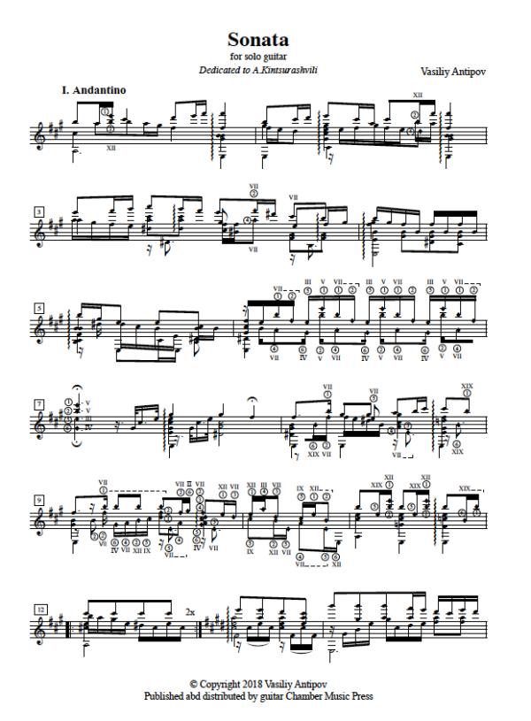 Score of Sonata for Solo Guitar