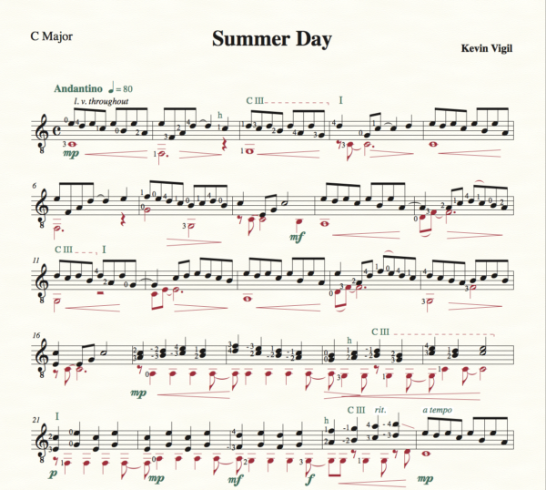 Score of Summer Day
