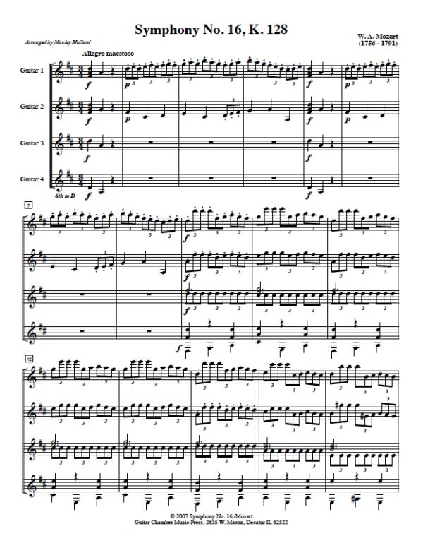 Score of Symphony No. 16 K. 128